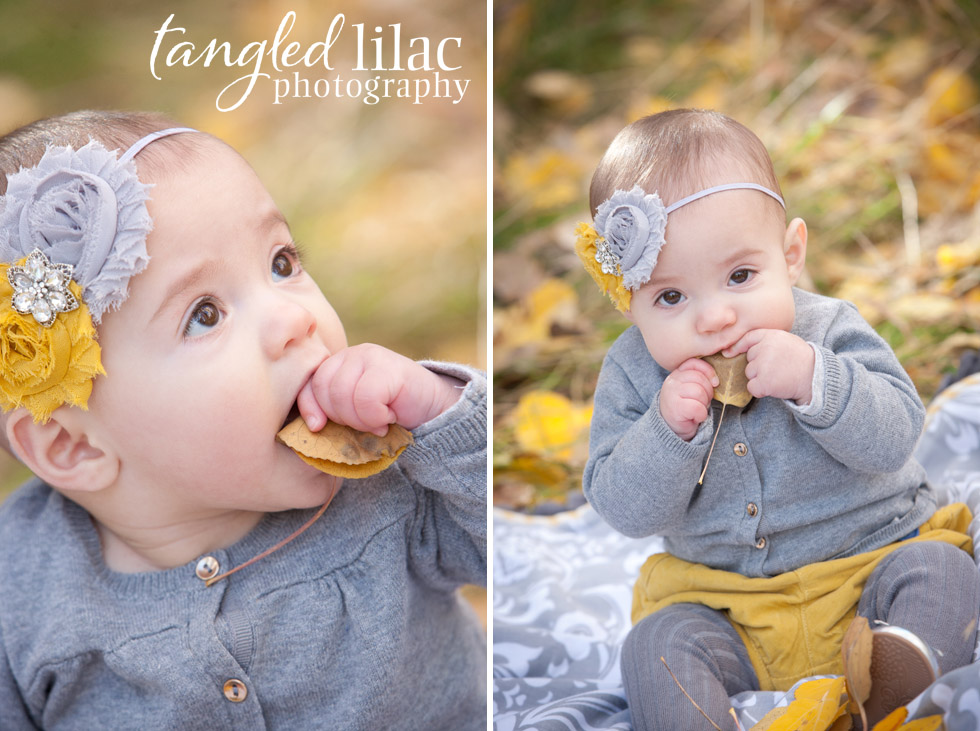 baby girl, yellow, gold leaves, headband