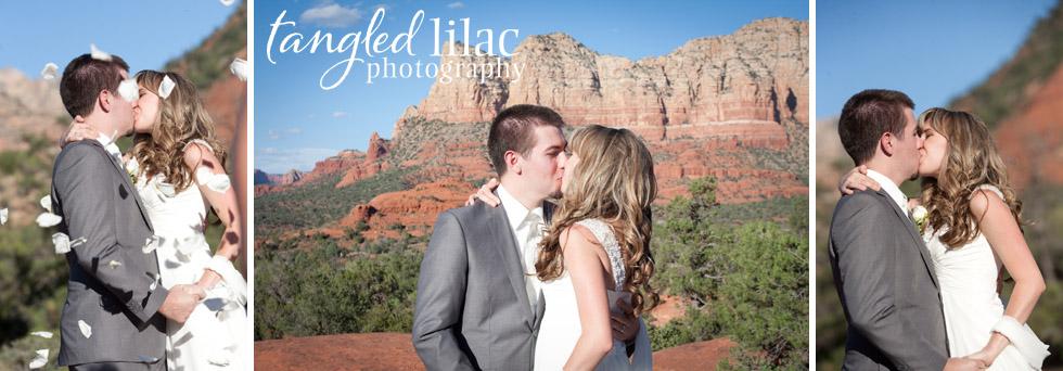 bride and grrom, first kiss, sedona, outdoor ceremony, wedding