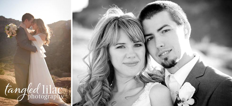 sedona wedding portrait, bride and grrom, outdoor, red rock