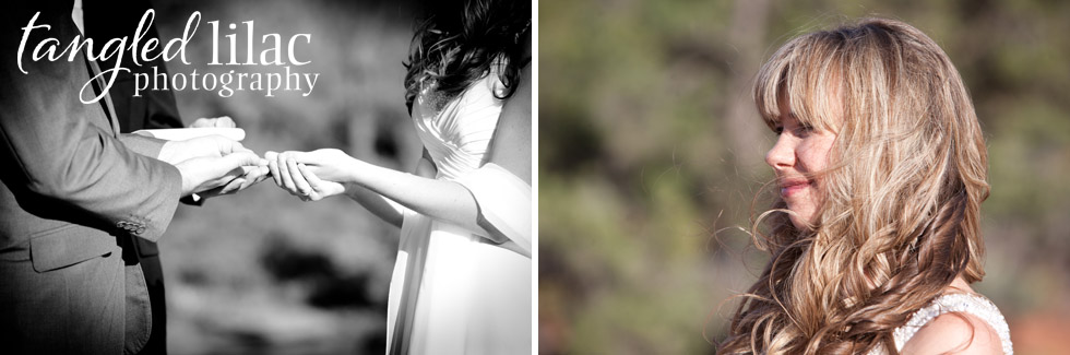 outdoor wedding ceremony, wedding rings, bride and grrom, sedona wedding photography