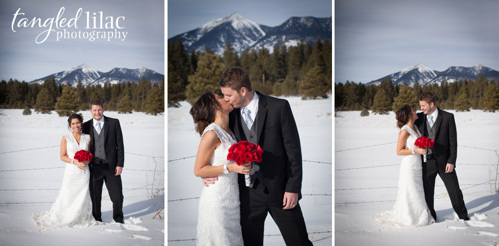 bride and groom, mountains, snow wedding, flagstaff wedding photography