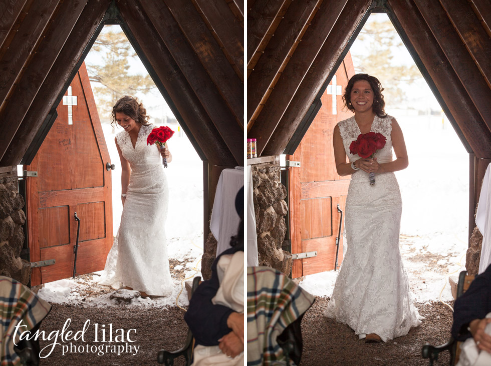 Bride, chapel, snowy, wedding, red roses