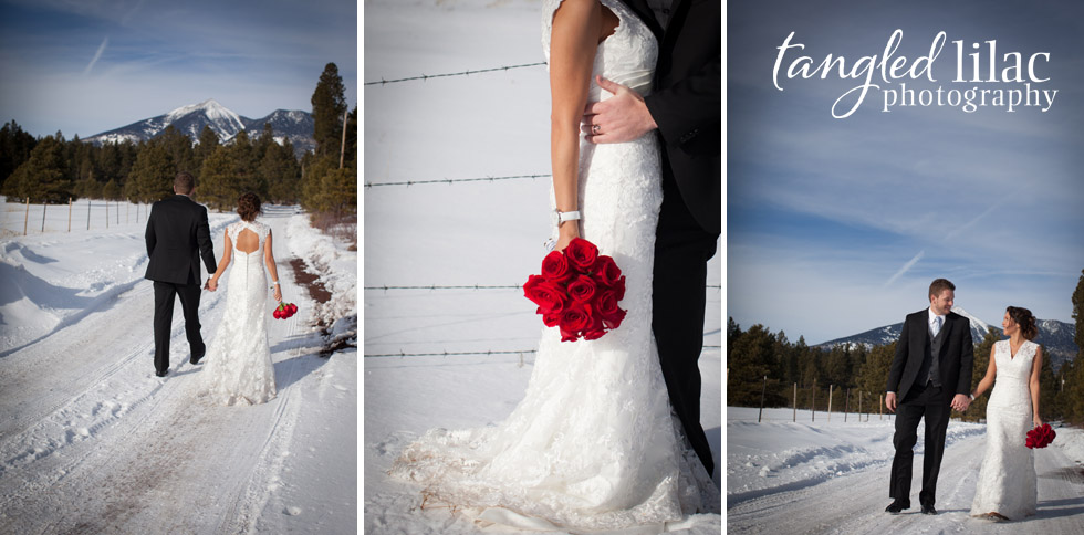 flagstaff winter wedding, snow, bride and groom, flagstaff