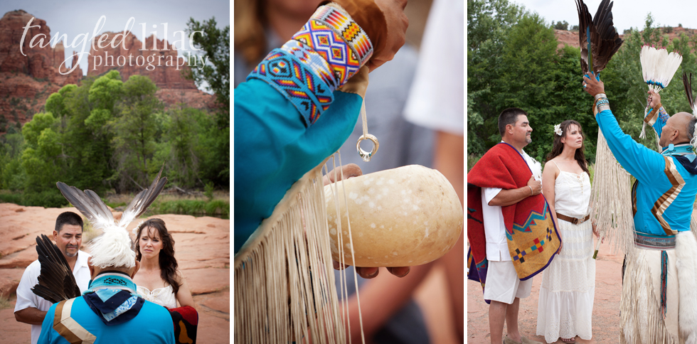 Native Feather Ceremony Shaman Wedding Red Rock